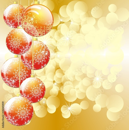 Christmas baubles ornament on golden lights background