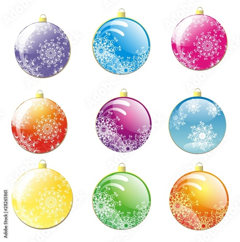 Set of Christmas balls. Illustration for your design project.