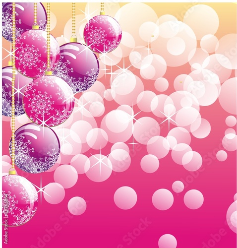 Christmas baubles ornament on pink lights background