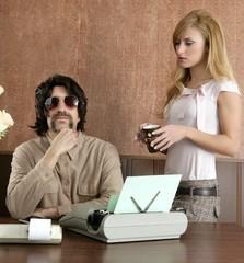 mustache retro businessman sexy secretary