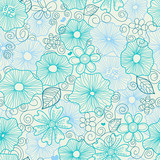 Floral seamless background in blue