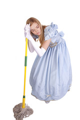 Tired woman leaning on mop