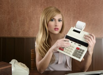 accountant retro secretary vintage calculator