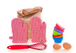 kitchen tools and meal for making cupcakes and muffins isolated