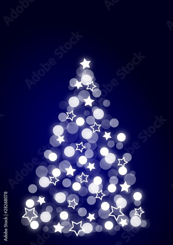blue, dotted christmas tree