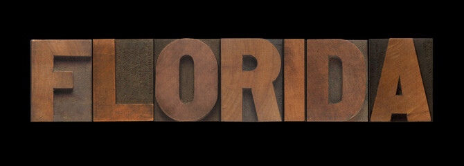 the word Florida in old letterpress wood type