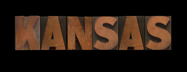 the word Kansas in old letterpress wood type