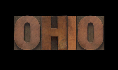 the word Ohio in old letterpress wood type