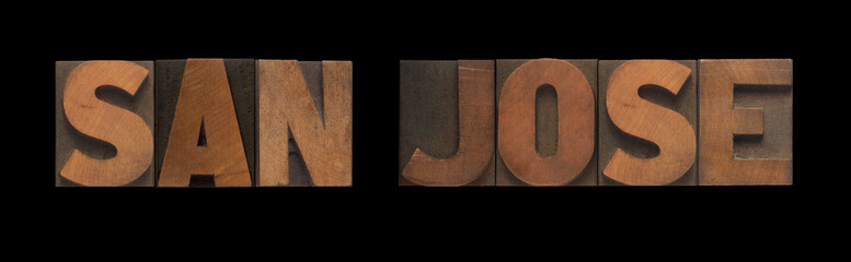 the words San Jose in old letterpress wood type