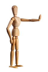 Wooden mannequin showing stop sign with its hand isolated