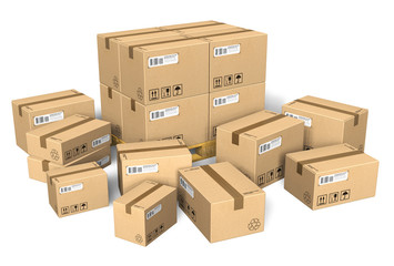 Set of different cardboard boxes