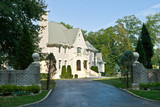 French Eclectic Revival Chateau Style Home, Suburban USA poster