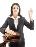 Caucasian Woman Swearing on Stack of Bibles Isolated Background poster