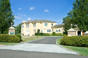 New Large House Home Gate Driveway Suburban Philadelphia PA USA
