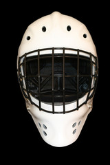 white hockey goalie mask, front facing