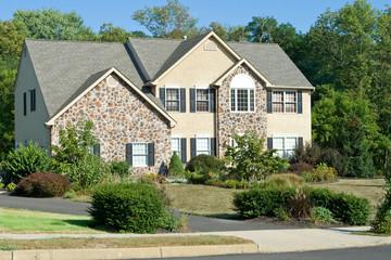 New Stone Faced Single Family Home Suburban Philadelphia PA USA