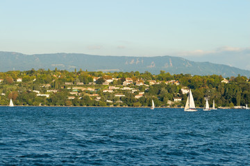 Lake Geneva Switzerland Lakeside Sailboats and Homes