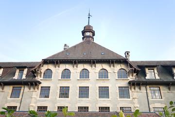 Imposing Old Gothic School in Geneva Switzerland Wide Angle Lens