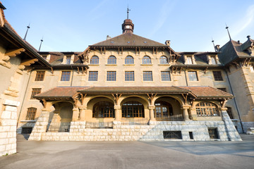Old Gothic Style School, Geneva, Switzerland,  Wide Angle Lens