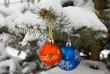 Leinwandbild Motiv christmas decorations on fir branch