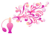 Fototapety perfume bottle with floral scent, vector