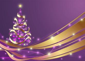 Natale Albero di Stelle-Christmas Stars Tree Background-Vector