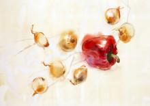 Poivrons rouges et oignons
