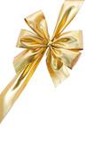 Fototapety Ruban cadeau doré isolé sur fond blanc