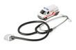 Stethoscope and toy ambulance car