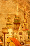 cathedral in Zagreb - picture in artistic retro style poster