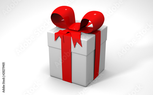 gift box with red and white