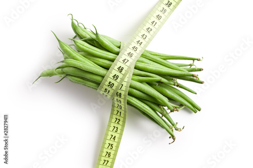 bean pods with measuring tape