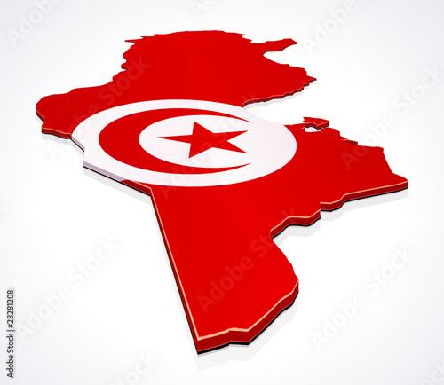 Carte de la Tunisie 3D drapeau sur fond (reflet)