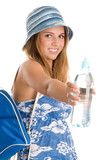 Teenage girl with bottled water