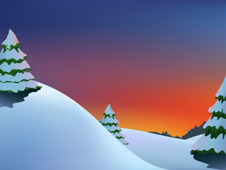 Winter hills landscape with fir-trees and red sunrise
