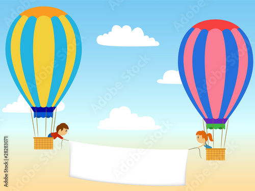 Two cartoon aerostat with advertisment banner