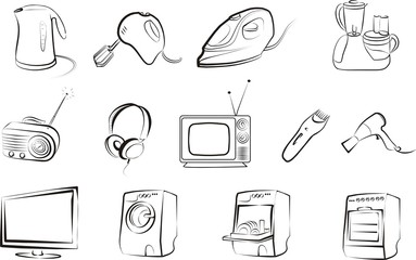 big set of home related electric goods icons