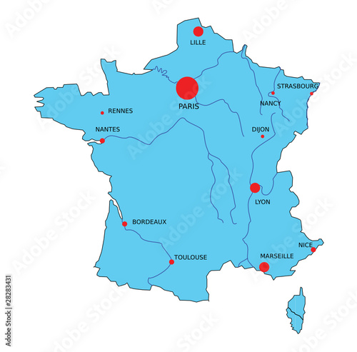 """""""Carte de France bleue vectorielle et principales villes ..."""