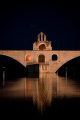 Avignon Bridge glowing at night, France