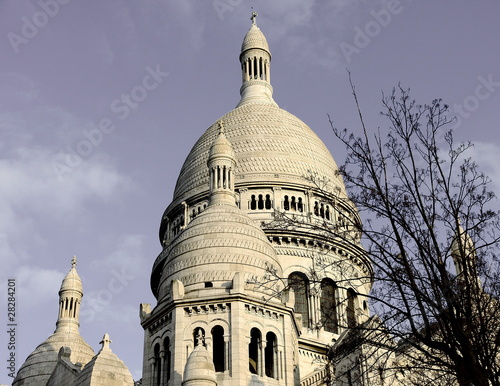 The facade of Sacre Ceure cathedral in Paris