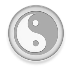 "White Button / Icon ""Yin and Yang"""