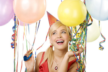 pretty girl in party with balloons