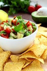 Mexican tortilla chips with Vegetable Salad
