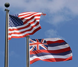 Flaggen USA und Hawaii