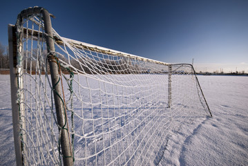 Icy soccer goal