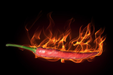 Hot pepper in fire and flames
