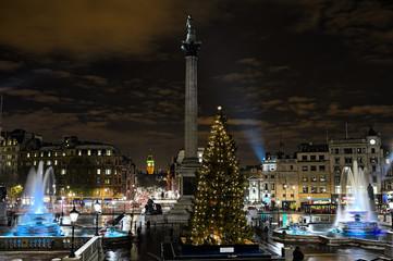 Trafalgar Square, London, England, UK, at night in winter