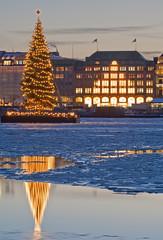 Hamburg, Binnenalster mit Tannenbaum