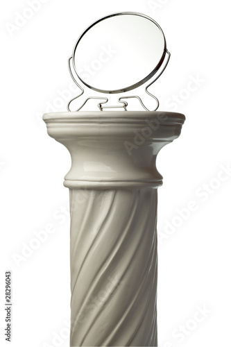 Leinwandbild Motiv mirror and Single greek column isolated on white