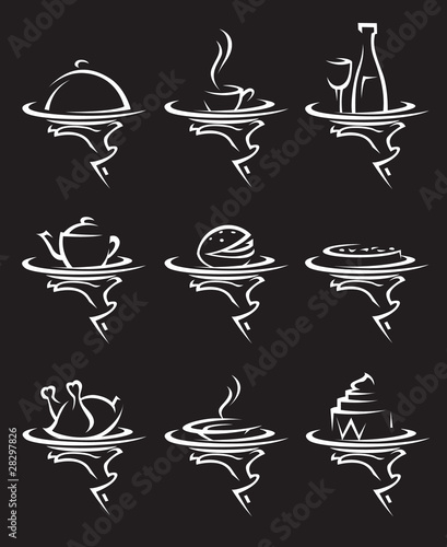 set of nine restaurants icons